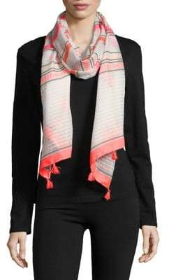 Collection 18 Striped Tassel Scarf