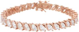"Diamonique ""As I Marquise Tennis Bracelet Sterl. or 14K Clad"