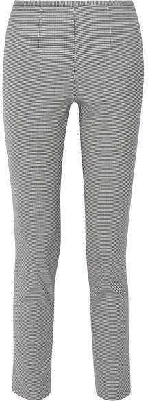 Michael Kors Collection - Houndstooth Stretch-wool Blend Skinny Pants - Black