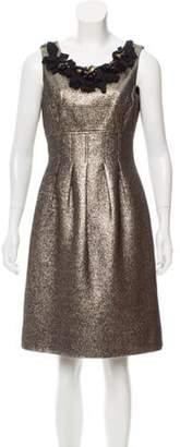 Lela Rose Embellished Metallic Dress Gold Embellished Metallic Dress