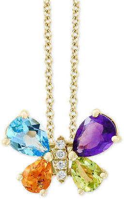 """Effy Multi-Gemstone (2 ct. t.w.) & Diamond Accent Butterfly 18"""" Pendant Necklace in 14k Gold"""