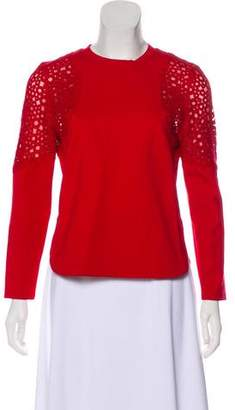Akris Punto Crochet-Trimmed Long Sleeve Top