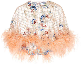 Marchesa Ostrich Feather Embellished Tulle Grid Capelet