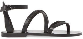 K Jacques St Tropez Fusain Leather Sandals - Black