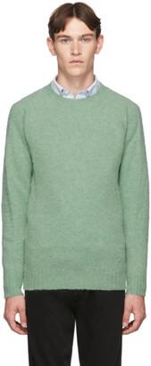 Officine Generale Green Wool Seamless Crewneck Sweater