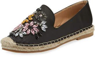 Neiman Marcus Flippina Satin Embellished Espadrille, Black