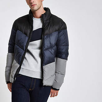 River Island Blue color block reflective puffer jacket