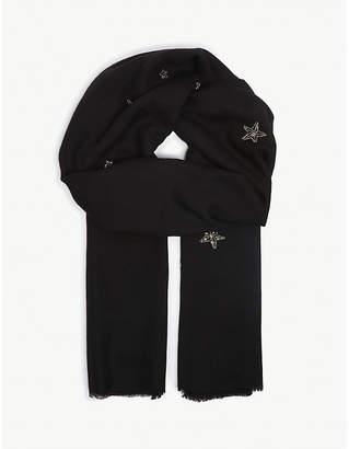 Janavi Night Dreams embroidered cashmere scarf