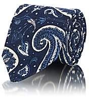 Isaia Men's Paisley Wool-Silk Necktie - Blue