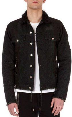 Balmain Python-Print Distressed Denim Jacket $2,570 thestylecure.com