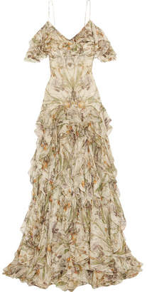 Alexander McQueen - Cold-shoulder Ruffled Floral-print Silk-crepon Gown - Ivory $10,200 thestylecure.com
