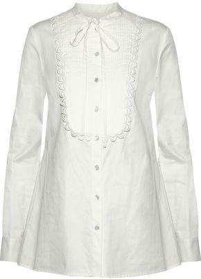 Temperley London Pussy-Bow Pintucked Cotton-Poplin Shirt