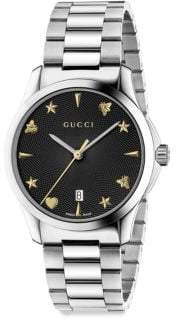 Gucci G-Timeless Guilloche Sapphire Crystal Quartz Stainless Steel Watch