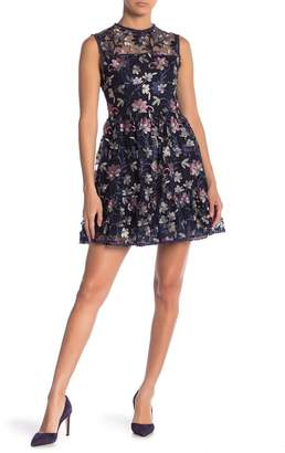 Cupcakes And Cashmere Leda Floral Embroidered Sleeveless Dress
