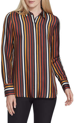Lafayette 148 New York Scottie Horizon Stripe Silk Button-Down Blouse