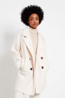 F&F Womens Ivory Boucle Snit Coat - Cream