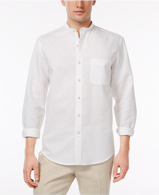 Tasso Elba Men's Linen Banded Collar Shirt, Only at Macy's $59.50 thestylecure.com
