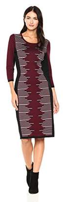 Gabby Skye Women's 3/4 Sleeve Round Neck Midi Sweater Sheath Dress