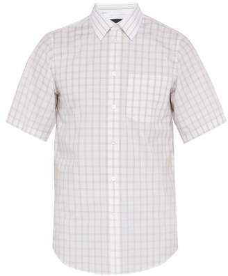 Stella McCartney Grid Check Short Sleeved Cotton Shirt - Mens - White