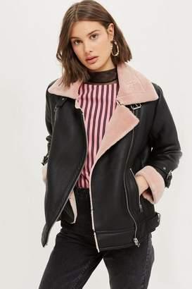 Petite faux shearling biker jacket