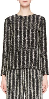 Dries Van Noten Caius Long-Sleeve Open-Back Striped Sequin Tunic