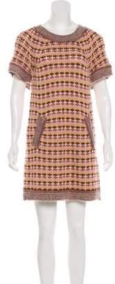 Missoni Wool-Blend Short Sleeve Knit Sweater Dress