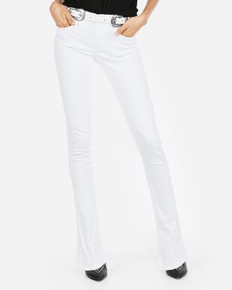 Express White Mid Rise Stretch Skyscraper Jeans