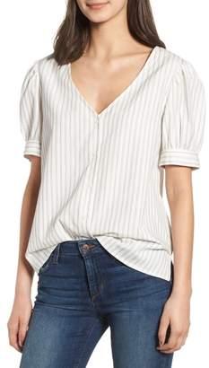 Hinge Stripe Puff Sleeve Blouse