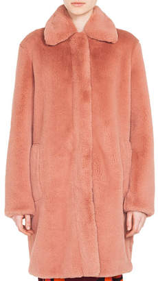 Akris Punto Spread-Collar Zip-Front Faux-Fur Coat