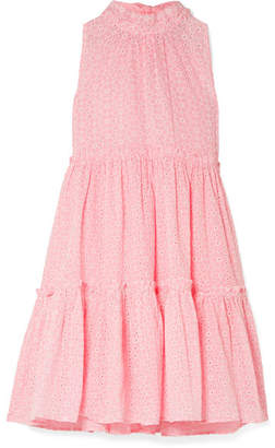 Lisa Marie Fernandez Erica Ruffled Broderie Anglaise Cotton Mini Dress - Baby pink