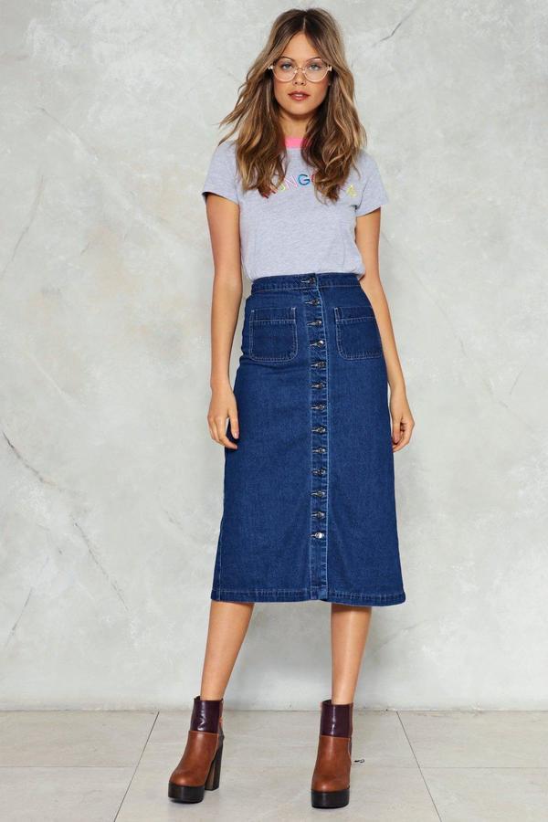nastygal Get Down to It Denim Midi Skirt