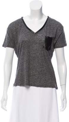 The Kooples Leather-Trimmed Linen Top w/ Tags