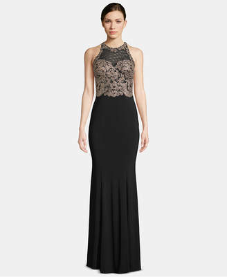 Xscape Evenings X by Illusion-Mesh Soutache Gown
