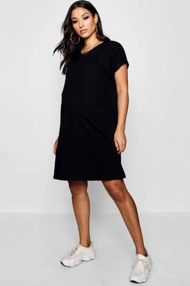 boohoo Maternity Oversized Roll Up T Shirt Dress