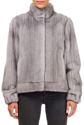 Gorski Vertical Mink Fur Jacket w/ Sheared Inserts