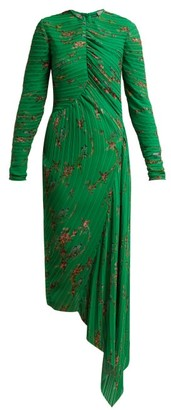Preen by Thornton Bregazzi Floral Print Pleated Georgette Midi Dress - Womens - Green Multi
