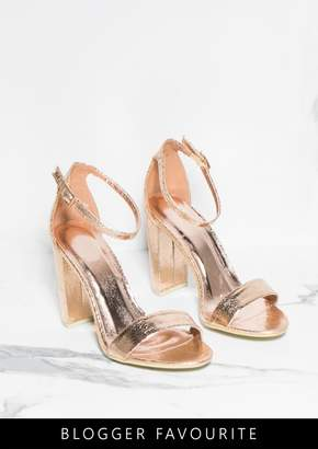 cd5a978225 Missy Empire Missyempire Lottie Rose Gold Cracked Foil Metallic Barely  There Heels