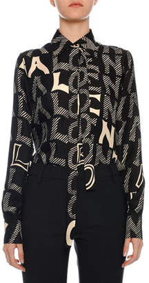 Valentino Tie-Neck Long-Sleeve Twill Blouse
