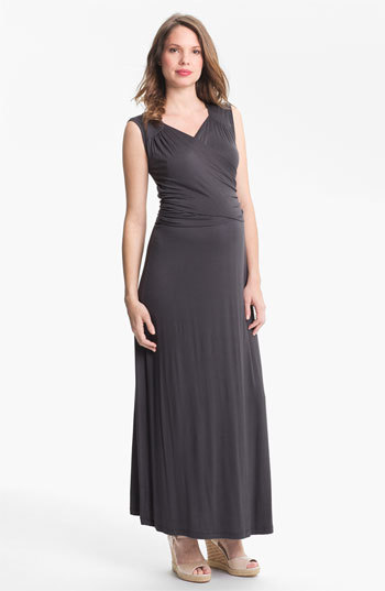 Japanese Weekend Faux Wrap Maternity Maxi Dress