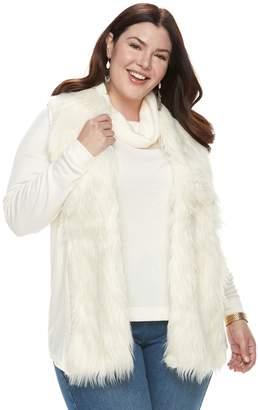 Laundry by Shelli Segal Plus Size French Faux-Fur Vest