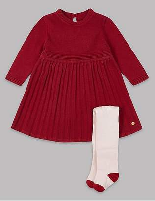Marks and Spencer Knitted Dress & Tights Outfit