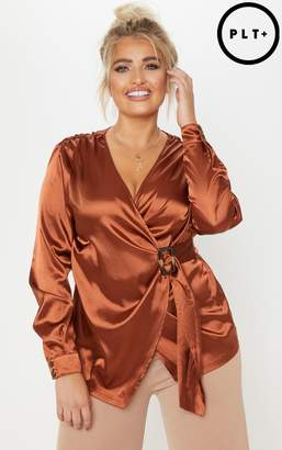 PrettyLittleThing Plus Rust Satin Tortoise Shell Trim Wrap Top