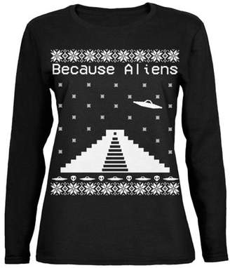 Old Glory Because Aliens Pyramid Ugly XMAS Sweater Black Womens Long Sleeve T-Shirt