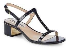 Karl Lagerfeld Paris Tineet Studded Patent Leather Sandals