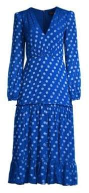 Saloni Devon Polka Dot Ruffle Dress