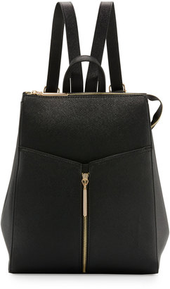 Neiman Marcus Faux-Leather Zip-Top Backpack, Black $95 thestylecure.com