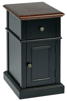 Office Star Products Oxford Chair Side Table, Black 2-Tone