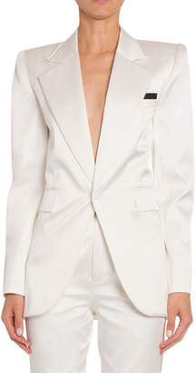 Saint Laurent Silk Satin Wide-Lapel Tuxedo Jacket