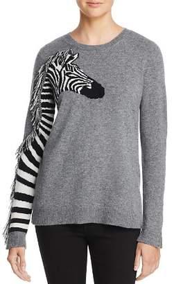 Aqua Zebra Fringed Cashmere Sweater - 100% Exclusive