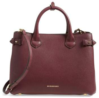 Burberry Medium Banner Leather Tote - Red
